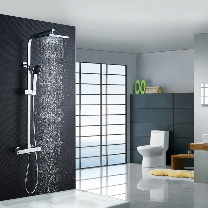 8 Bathroom Chrome Mixer Shower Thermostatic 38ºc Shower System Set With Overhead Rainfall Shower And Handheld Nvt806