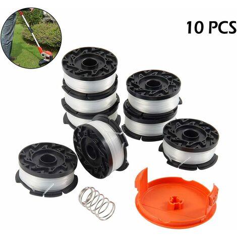 8 bobines de fil pour coupe-bordures Black et Decker Trimmer, fils en nylon de 9,1 m de longueur ?1,65 mm, avec couvercle de bobine et ressort