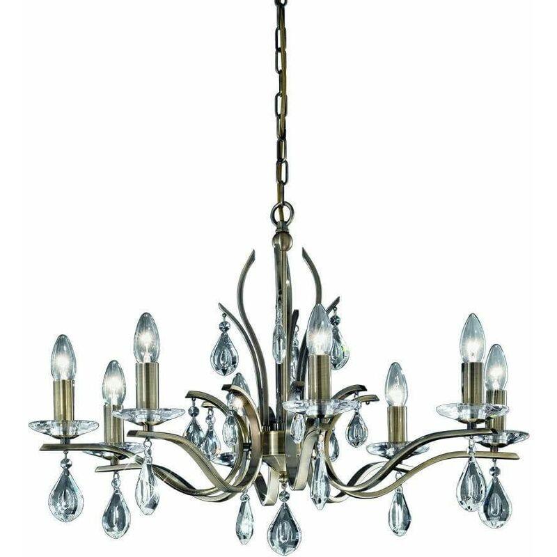 Image of 8 Bulbs Willow Crystal Bronze Pendant
