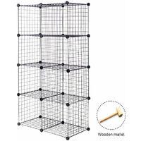 8 Cube Storage Shelf Rack DIY Wire Grid Bookcase Display Cabinet Organiser