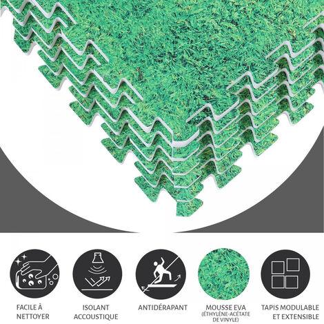 8 dalles carrées de protection - 1,2 cm d\'épaisseur - Coloris : Noir, Rouge, Gris, Bleu, Bois foncé, Bois clair, Gazon
