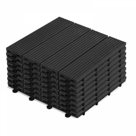 8 dalles de terrasse clipsables bois composite gris anthracite Norman - Gris