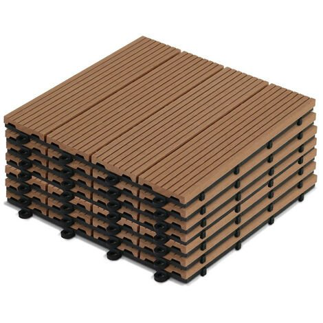 8 dalles de terrasse clipsables en bois composite Norman - Marron