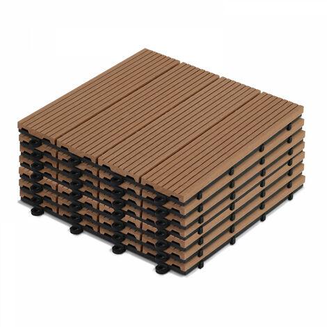 8 dalles de terrasse clipsables en bois composite Padang - Marron