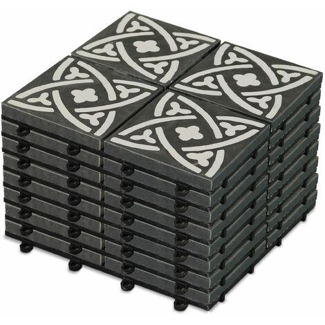 8 dalles de terrasse clipsables en carreau de ciment Dalle clipsable - Gris