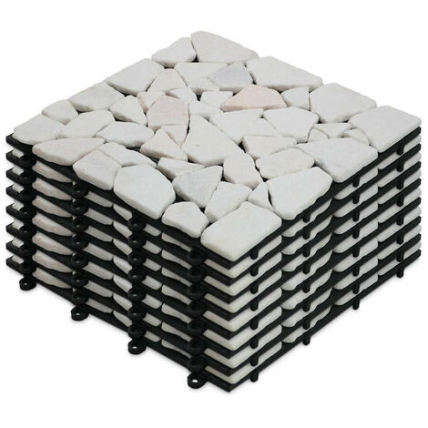 8 Dalles de terrasse clipsables en galets de marbre blanc Galicia - Blanc
