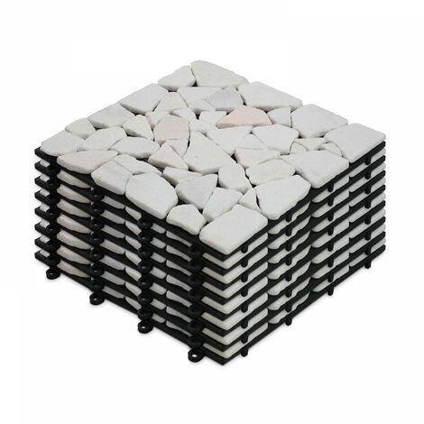 8 Dalles de terrasse clipsables en galets de marbre blanc Galicia - Blanc - Blanc