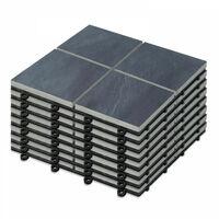 8 Dalles de terrasse clipsables en pierre noire 4 carreaux - Gris