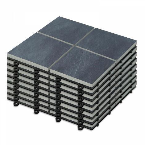 8 Dalles de terrasse clipsables en pierre noire 4 carreaux Kobe - Gris - Gris