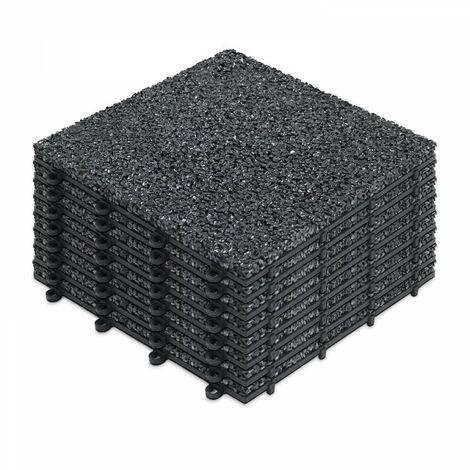 8 Dalles de terrasse clipsables gravillon noir Memento - Noir - Noir