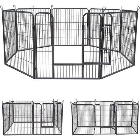 8 Eléments 80x80cm parc pour chiot, clôture pour, enclos en argent, barrière pour, roue libre