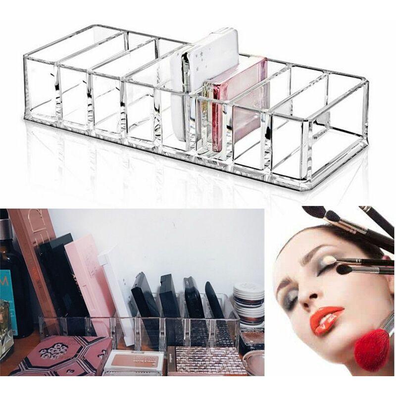 8 Fentes Boite Acrylique Transparente Support Compact Poudre Blush Boite De Rangement Organisateur De Trousse De Maquillage