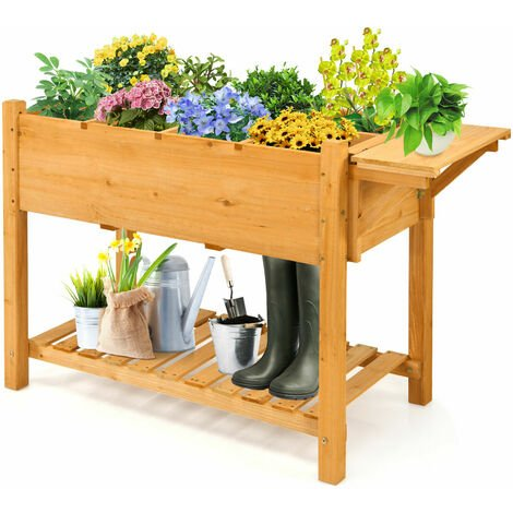 8 Grids Wooden Raised Garden Bed Elevated Planter Kit W/ Folding Lateral Shelf