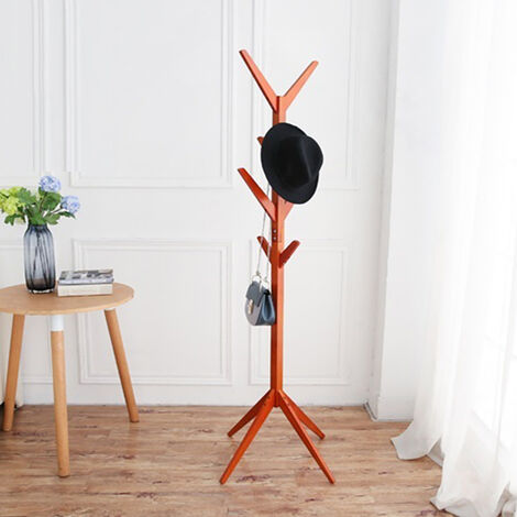 8 Hooks Clothes Wooden Stands Hat Holder Tree Rack