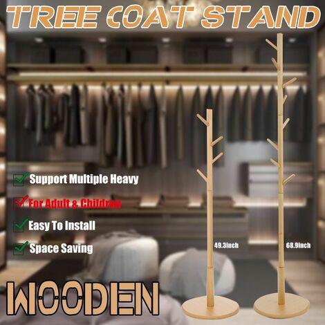 8 Hooks Coat Rack Holder Tree Hat Jacket Umbrella Hanger Wooden Tree Rack Storage (Adult)