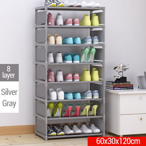 8-Layer DIY Shoe Rack Thick Non-woven Fabric Stainless steel Shoe Storage