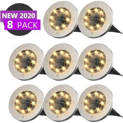 8 LED solar spotlight - Floor lighting - Outdoor floor lighting - Floor lighting for landscape, walking, lawn, lawn, hallway, stairs, fences, waterproof LED lamp (8 warm white)