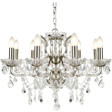 8 LIGHT CHANDELIER, CLEAR CRYSTAL DROPS & TRIM, SATIN SILVER