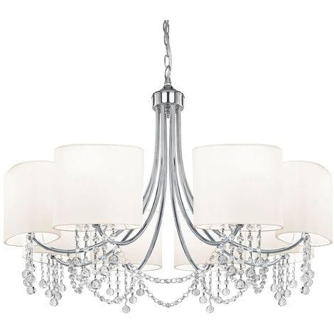 8 Light Chrome Chandelier - Clear Glass Buttons & White Shades