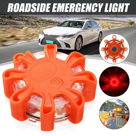 8 luces de advertencia de seguridad de disco de emergencia de carretera intermitente de baliza LED roja