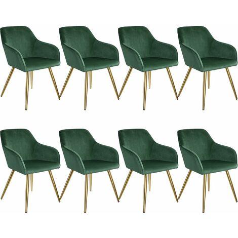 8 Marilyn Velvet-Look Chairs gold