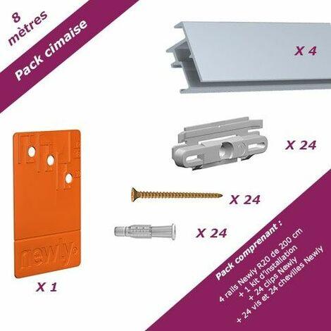 8 mètres Aluminium : Pack économique cimaise Newly R20 (rails et fixations) - Rail en aluminium se coupe avec une scie à métaux - 23 mm - Rail en aluminium se coupe avec une scie à métaux