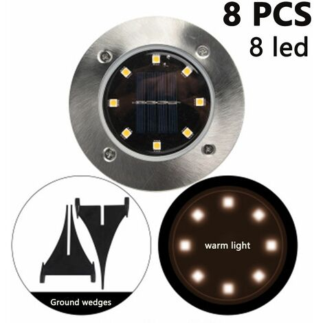 8 Pack Solar Disk Lights 8 LED Solar Ground Lights Outdoor Waterproof Stainless Steel in Ground Solar Lights for Walkway Pathway Lawn Patio Yard Garden, warm light