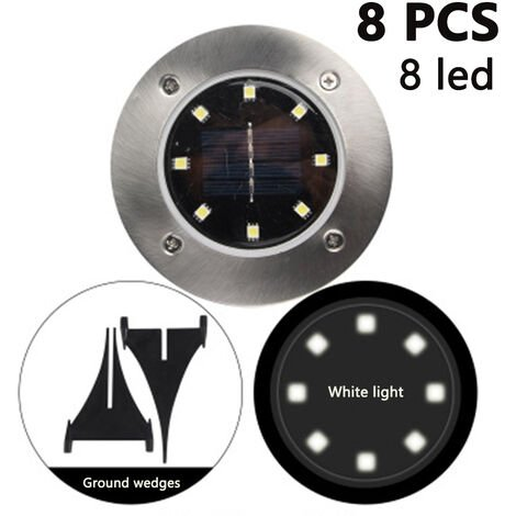 8 Pack Solar Disk Lights 8 LED Solar Ground Lights Outdoor Waterproof Stainless Steel in Ground Solar Lights for Walkway Pathway Lawn Patio Yard Garden, white light