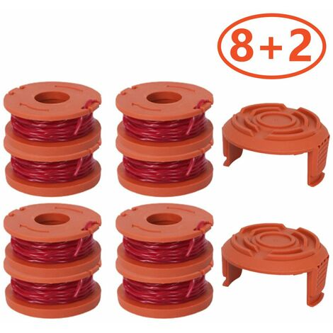 8 Pack With 2 covers Can be used to replace lawnmower spools for WORX thread Trimmers spools for improved cutting speed