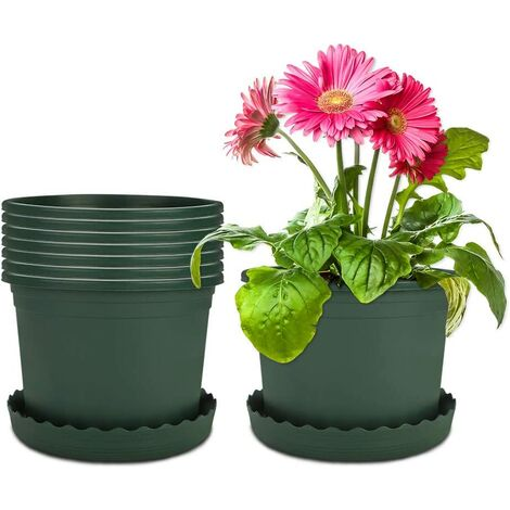 """main image of """"8 Packages 16cm Flower Pot Plastic Green Pots with Soucer Plastic Pot Plastic Garden Outdoor and Interior For Bonsai Plants Succulent Aloe Herb (Small)"""""""
