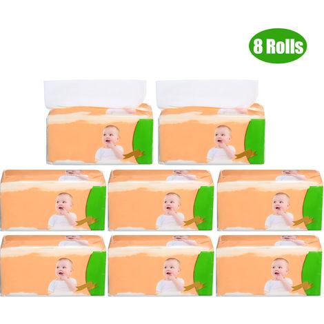 8 Packs 4 Couches De Pate De Bois Toilette Mouchoirs Papier Papier De Soie Serviettes Pour Tissus Menagers Home Office Salle De Bain 480 Feuilles Par Paquet 16 * 18Cm