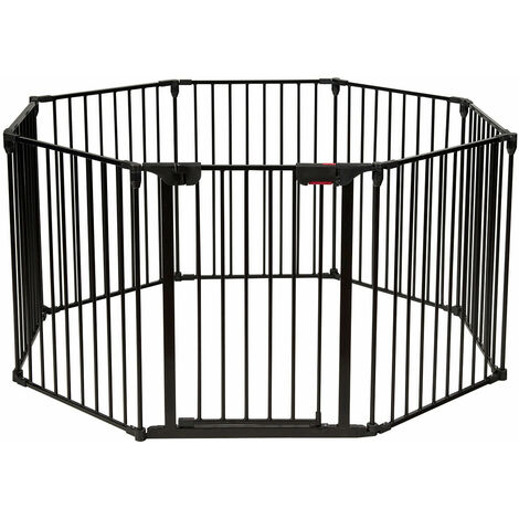 8 Panel Baby Metal PlayPen Pet Fence Playpen Foldable Room Divider 3 IN 1 Black