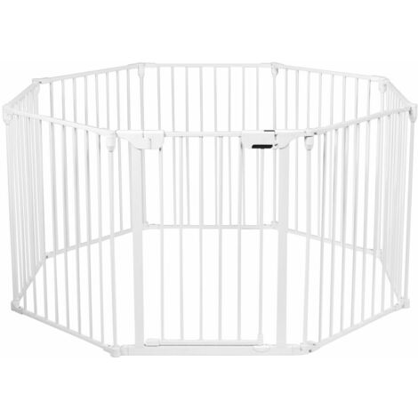 8 Panel Baby Metal PlayPen Pet Fence Playpen Foldable Room Divider 3 IN 1 White