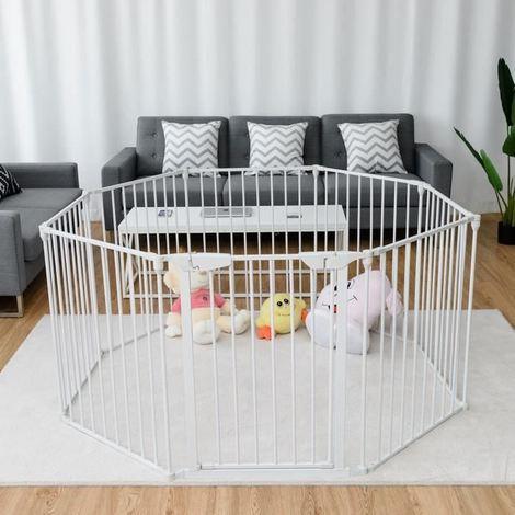 8 Panel Kids Pet Fence Playpen Foldable Metal Room Divider Play Yard Barrier White