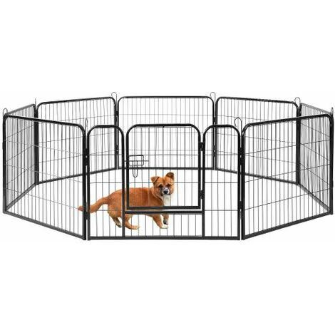 8 Panel Playpen Suitable for Rabbits/Guineas/Dogs and Cats,Pet Dog Puppy Playpen Training Whelping Cage Crate Run Enclosure Metal Hammered Silver