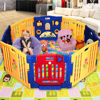 8 Panels Baby Playpen with Activity Panel Toddler Kids Play Yard Indoor Outdoor