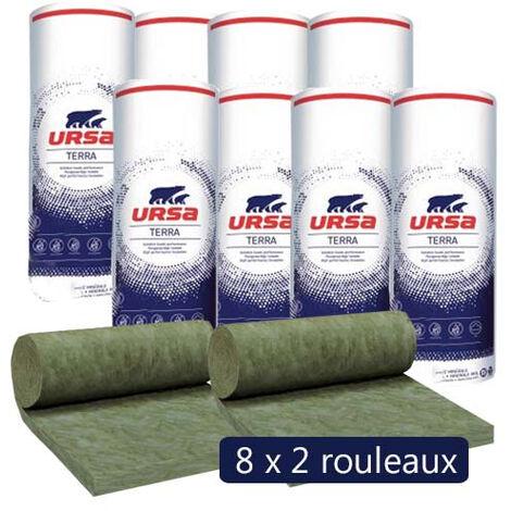 8 paquets de 2 rouleaux laine de verre URSACOUSTIC TERRA nu - Ep. 70mm - 48m² - R 1.75