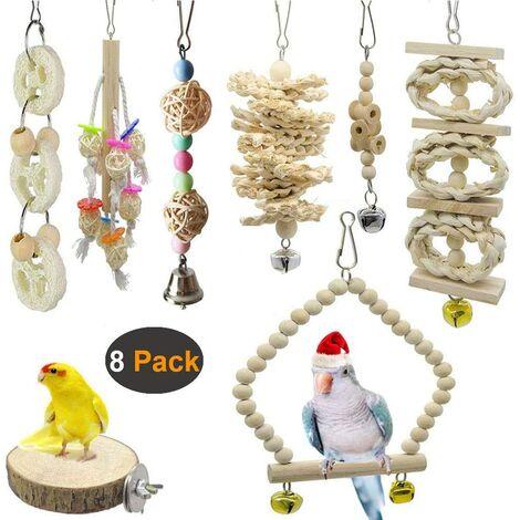 8 paquets de jouets pour oiseaux, balançoire pour oiseaux et perroquets, jouets de cage pour oiseaux - bois naturel à suspendre, pour petites perruches, cockatiels, perruches