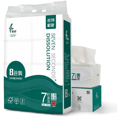 8 paquets d'essuie-tout 3 couches a plis multiples essuie-tout pour salon papier toilette doux et resistant,modele:Blanc