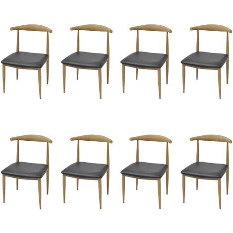 8 pcs Chaises de salle à manger Noir Similicuir