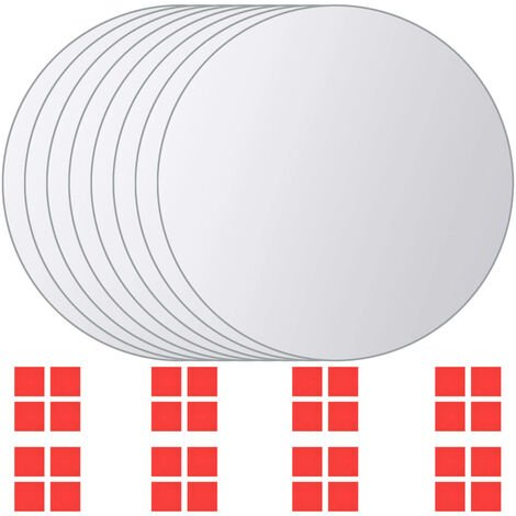 8 pcs Mirror Titles Round Glass