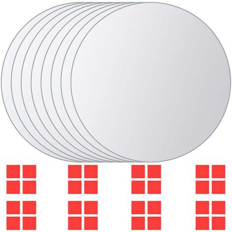 8 pcs Mirror Titles Round Glass - Silver