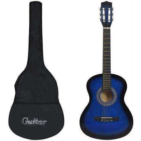 """8 Piece Classical Guitar Kid Beginner Set Blue 3/4 36"""""""