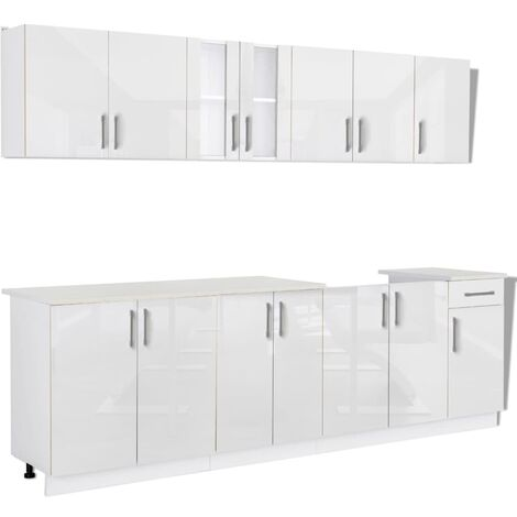 8 Piece Kitchen Cabinet Unit High Gloss White 260 cm
