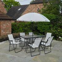 8 Piece Rectangular Garden Patio Furniture Set - Cream