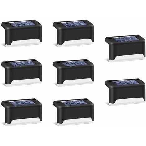 8 pièces de lumières d'escalier de jardin solaire clôture de jardin extérieur décoration de paysage lumières de marche solaires