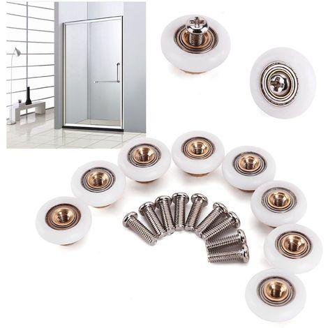 8 pièces Roulette roue Salle de bain remplacement 19mm pour Porte en verre Cabine Douche