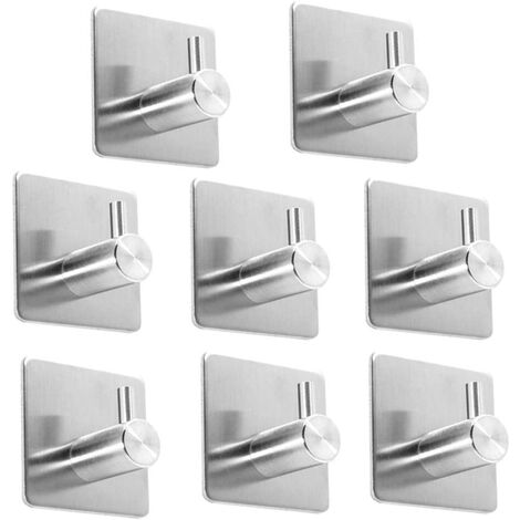 8 Pieces Self Adhesive Hooks 8 Pieces Self Adhesive Hooks, Stainless Steel Bathroom Wall Hook Wall Hook Cuisine Stainless Steel Kitchen Hook 2.5kg Max (Silver)