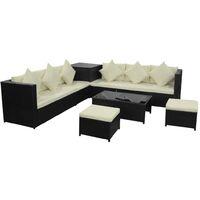 8 piezas Muebles de jardín y cojines ratán sintético negro