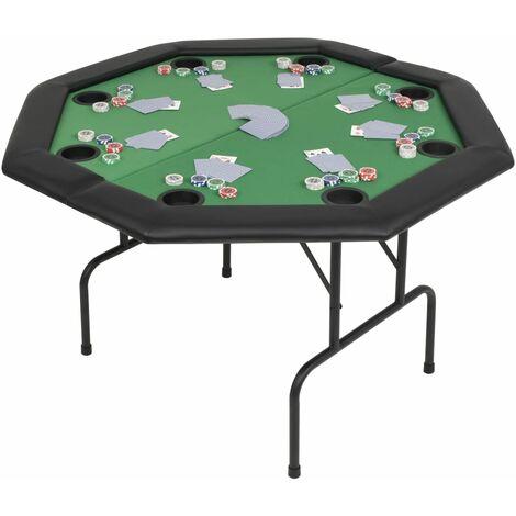 8-Player Folding Poker Table 2 Fold Octagonal Green - Green